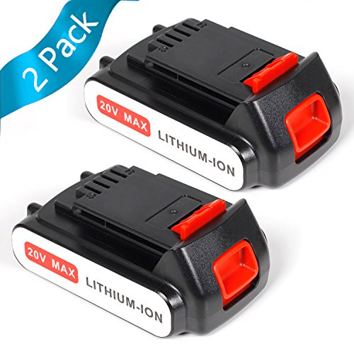 LENOGE 2-pack 18 V 2,0 Ah Li-Ion Ersatz-Akku für Black & Decker LBXR20 LBXR2020-OPE LB20 LBX20 BL2018-XJ GKC1825L GTC1850L20 STC1820