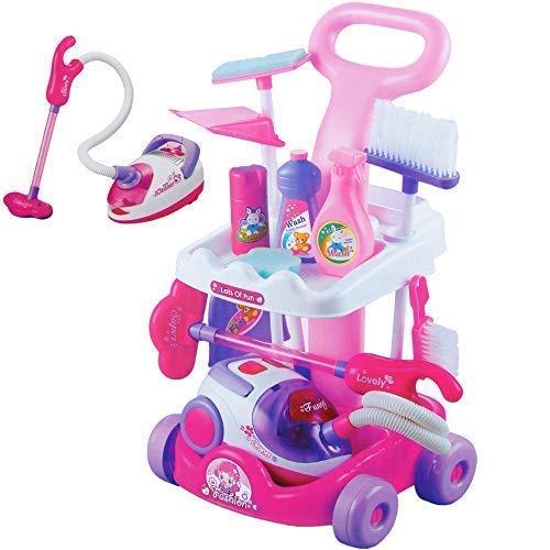 Dominiti Reinigungswagen in pink mit viel Zubehör Staubsauger Besen und mehr Haushalt Spielzeug für kleine Kinder Rollenspiel Pretend Play für Kleinkinder pink rosa Mädchen Putzwagen