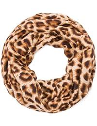 style3 Damen Loop Schal mit Leopard-Muster für den Winter Damenschal Rundschal Winterschal Tiermuster