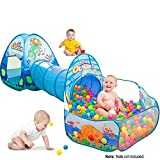 #9: Playhood 3-in-1 Pop Up Play Tent House with Tunnel & Ball Pool for Kids - Ocean Theme (Balls not Included)