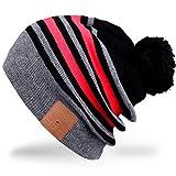 Rotibox Cappello Beanie Bluetooth, Cappellino Trendy Knit Short Trendy con Auricolare Bluetooth Headphone Auricolare Audio Music Hands-free chiamata telefonica per Outdoor Sport Fitness Ginnastica Workout Regalo di Natale - Grigio /Rosso