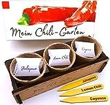 Mein Chili-Garten - Ein originelles Geschenk für jeden Anlass. «Lemon-Chili», «De Cayenne» Chili und «Jalapeno» Chili zum Züchten. Ideales Pflanzeset als Geschenk zu Geburtstag oder Ostern, Weihnachten