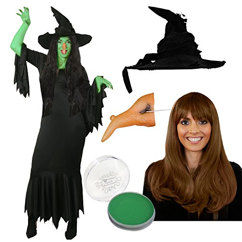 ILOVEFANCYDRESS BÖSES HEXEN KOSTÜME VERKLEIDUNG+Hut+BRAUNER PERÜCKE+Nase+SCHMINKE+Kleid=Fasching Karneval MAGISCHE ZAUBERIN=Fasching Karneval Halloween=XXLarge