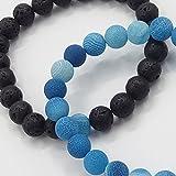 Paare Sein und ihr Armband Schwarzer vulkanischer Stein u. Farbe Verwitterung scheuern Achat 8mm Korne durch UEUC (blau)