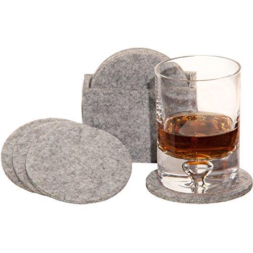 MC-TREND® 9tlg. Set Filz Untersetzer Glas Untersetzer aus Filz für Gläser, Tassen für Ihren Tisch Bar 8er Set in Filzbox (Hellgrau)