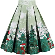 Girstunm Women's Pleated Vintage Skirt Floral Print A-line Midi Skirts with Poc