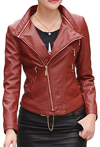 Helan Femmes Col amovible Moto Sport en cuir PU Veste courte Rouge
