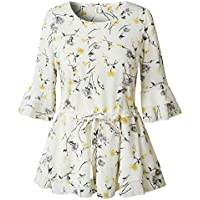 Camisa de Gasa para Mujer con Estampado de Cintura Grande con Volantes y Falda de Camisa de Media Manga