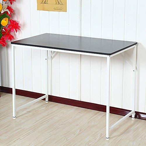 Metall-workstation (ospi® rechteckig Holz Studie Tisch Computer PC Schreibtisch HOME OFFICE Workstation Metall Beine 4Farben, schwarz, 100x60x75cm)