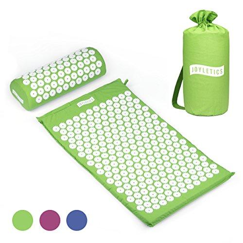 Joyletics® Akupressurmatte Massagematte | Tasche, Matte und Kissen in einem Set zur Lockerung von Verspannungen | geeignet für Entspannung und Meditation – Maße 66 x 40 x 2,5 cm in grün