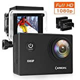 "CAMKONG Action Cam Impermeabile Action Camera Full HD 1080p 12MP 170¡ã Grandangolare 1.5"" LCD con l'accessorio interessante (2X1050mAh migliorata batterie)"