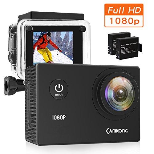 """CAMKONG Action Cam Impermeabile Action Camera Full HD 1080p 12MP 170¡ã Grandangolare 1.5\"""" LCD con l\'accessorio Interessante (2X1050mAh migliorata batterie)"""