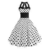 Xmansky Frauen Audrey Hepburn Vintage Kleid, 50er Jahre 60er Jahre Retro White Polka Dot ärmelloses Halfter Bodycon Abendgesellschaft Prom Swing Dress (S, Weiß)