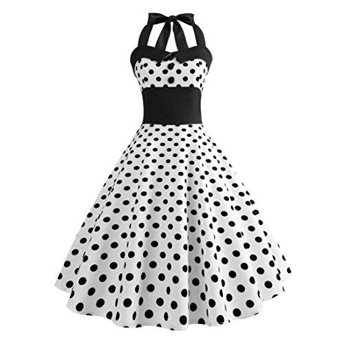 50er Dot Jahre Kleid Kostüm Polka - Xmansky Frauen Audrey Hepburn Vintage Kleid, 50er Jahre 60er Jahre Retro White Polka Dot ärmelloses Halfter Bodycon Abendgesellschaft Prom Swing Dress (M, Weiß)