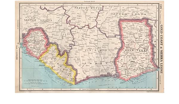 coast of africa map West Africa Gold Coast Ghana Sierra Leone Liberia Ivory Coast 1952 Map Amazon Co Uk Kitchen Home coast of africa map