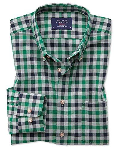 Bügelfreies Classic Fit Twill-Hemd in Grün und MarineBlau mit Gingham-Karos Einzel Manschette Größe L (Kragen-einzel Manschette-shirt)