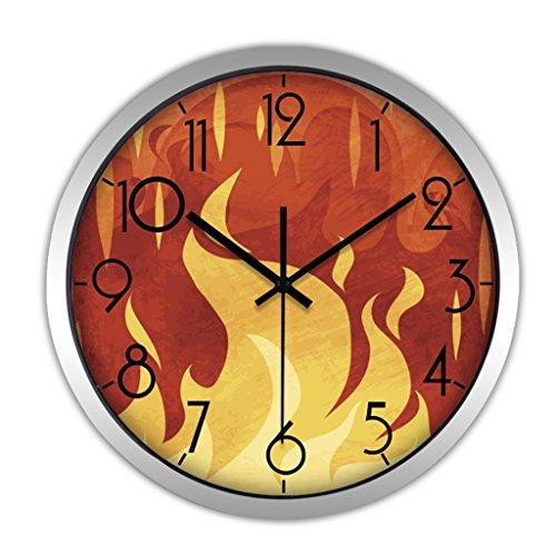 Horloges Métallique Murale Rond Quartz et Montres Balayer Les Secondes Muet Silencieux Convient pour la Chambre et Le Salon (Color : Orange-C, Size : 30.5cm(12inch))