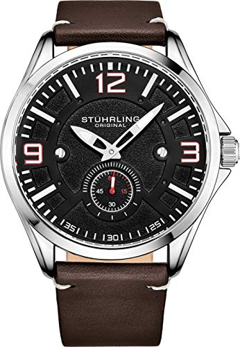 Stuhrling Original Aviator Herrenuhr - Strukturierte analoge Zifferblattuhr in Schwarz, Zifferblatt in Sekundenschnelle, lässiges genähtes Lederband, 3934 Mens Watches Collection (Brown)