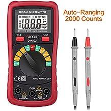 Tacklife DM02A Multímetro digital con diodo ,Auto-Ranging, Medir sin Contacto,Counts 2000,Resistencia 20mΩ ,Voltaje&Corriente AC/DC