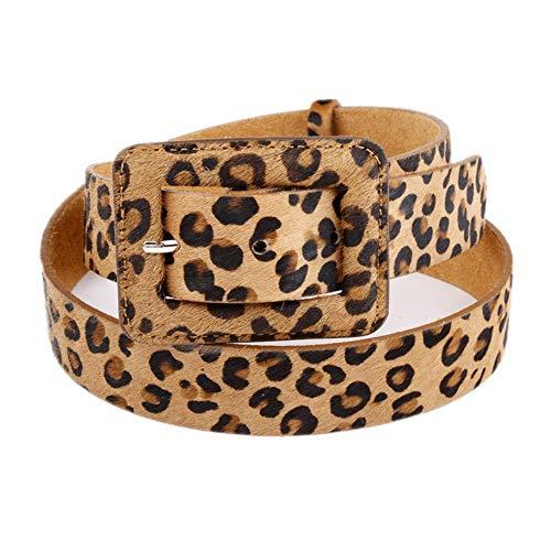 Y-WEIFENG Damen Damen Leder Leopard Print Gürtel Bund für Jeans und Kleid One Size Fits All. ` (Farbe : Leopardenmuster)
