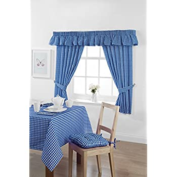 Country Look Gingham Check Bluebell Unlined Readymade Curtain 46x42in  (116x107cms) Approximately. Includes Tie Back Pair.