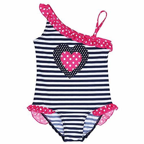 YiZYiF Mädchen Einteiler Badeanzug Pink Herz Bikini Bademode Kinder Badebekleidung 92 98 110 116 128 Blau + Dunkel Rosa Herz 110 (Badeanzug Kinder Rosa)