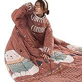 Fuibo Faul Quilt mit Ärmeln TV-Decken Verdicken Winter Warm Kuscheldecke für Stuhl Schlafsofa Nickerchen Decke Klimaanlage Decke (Coffee)