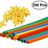 TOYMYTOY 300pcs Strohhalme Baustein Straws Bauset Konstruktion Set Intelliganz Lernspielzeug für Kinder