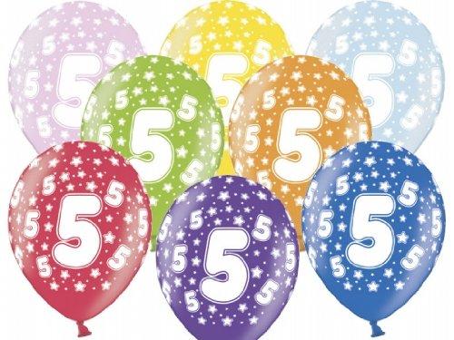 """SiDeSo® 10 Luftballons 12"""" Party Geburtstag Jahrestag (Zahl 5)"""