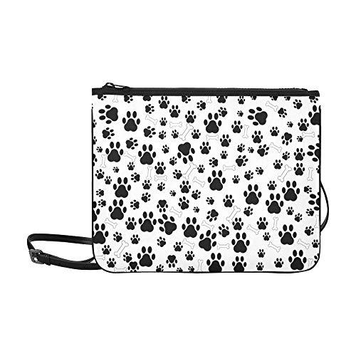 WOCNEMP Puppy Love Heart Shaped Trail Paw Pattern Benutzerdefinierte hochwertige Nylon Slim Clutch Crossbody Tasche Umhängetasche -