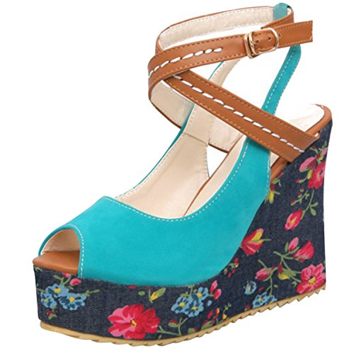 Oasap Women's Peep Toe Platform Wedge Heels Cross Strap Floral Sandals Blue