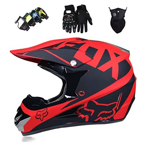 Hireomi Casque de Motocross Kit Professionnel Casque de Moto Adultes Off-Road Cross Road Race Casque De Route Unisexe IntéGral Y Compris des Lunettes/des Gants/Masques(XS, S, M, L, XL),Red,L(59~60cm)