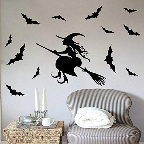 YSoutstripdu Halloween Fliegende Hexe auf Besen Fledermäuse PVC Wand Fenster Aufkleber Aufkleber Home Aufkleber Aufkleber Multi