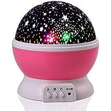 lederTEK Luce notturna a LED con cavo USB, a batteria, motivo stelle, 4 LED, 360 Gradi (rosa)