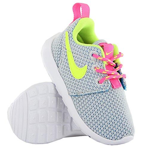 Nike Rosherun PS TD Scarpe Sportive, Unisex Bambino Pure Platinum/Rosa Pow/Blu Laguna/Volt
