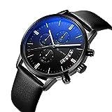 Uhr, Herrenuhren, Herren Casual Style Fashion Business Luxusuhren mit Kalender, multifunktionale wasserdichte Quarz-Armbanduhr(Alles schwarz)
