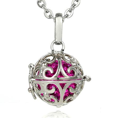 Morella Damen Halskette Edelstahl 70 cm mit Ornament Anhänger und Klangkugel Zirkonia pink Ø 16 mm in Schmuckbeutel