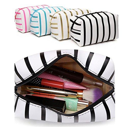 Bluelover Wasserdichte Pu-Leder Streifen Make-Up Tasche Kosmetik Tasche Reise Set Toilettenartikel