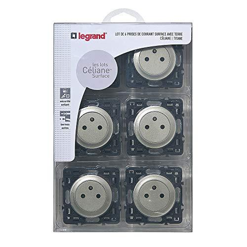 Legrand - Lot de 6 prises électriques avec Terre Composable - Céliane - Coloris Titane- 200268