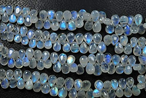 Earth Gems Park Super Fine Quality Gems Jewelry 6 Inches, Full Flash Rainbow Moonstones Smooth Pear Briolettes, Size 8-10mm Code:- BF-3041