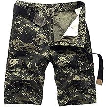 ZKOO Militar Cortos de Carga Hombre Camuflaje Bermuda Cortos Pantalones Deporte Shorts Multi Bolsillos Moda