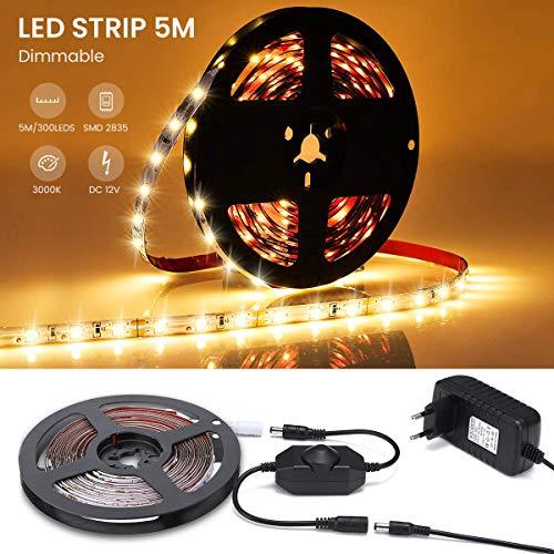 AMBOTHER 5M LED Streifen Dimmbar LED Strip Set LED Lichtband LED Bänder Lichterkette 3000K Warmweiß Stimmungslicht für Weihnachten Deko Kinderzimmer Selbstklebend, Schneidbar (300 LEDs, mit Netzteil)