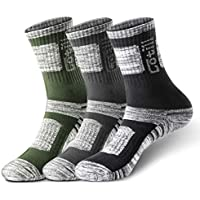 Cotill 3 Pairs Hiking Walking Trekking Socks for Men and Women, Light Breathable Wicking Performance Cushion Anti Blister Casual Crew Athletic Socks for Outdoor