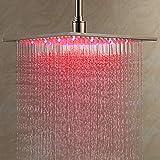 Moderne 40 x 40cm Luxus LED Regendusche Einbau-Duschkopf Deckenbrause Quadrat Überkopfbrause 3 LED Farben (Chrom)