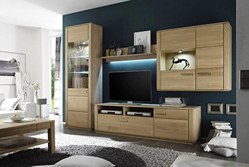 Dreams4Home Wohnkombination 'Yascha III' 4-teilig, Eiche Bianco massiv, optional mit Beleuchtung, Schrank, TV-Schrank, TV Element, Wohnwand, Wohnelement, Wohnzimmer, Regalwand, Highboard, Vitrine, Beleuchtung:mit LED Beleuchtung