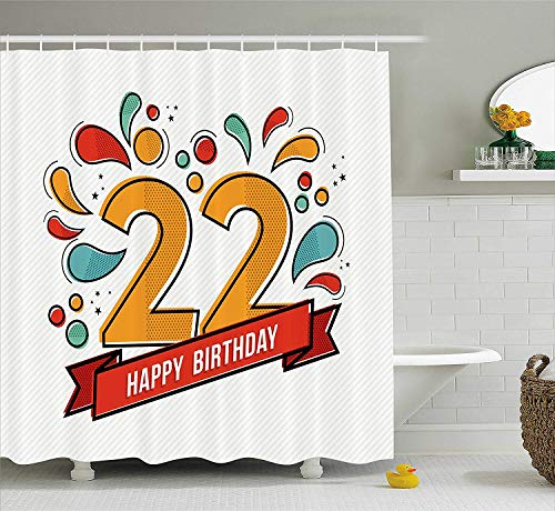 GONIESA 22nd Birthday Decorations Shower Curtain, Cute Cupcake with Candles Romantic Celebration Illustration, Fabric Bathroom Decor Set with Hooks, 60 * 72inch, Red Scarlet Blue (Chevron Cupcake Liner)