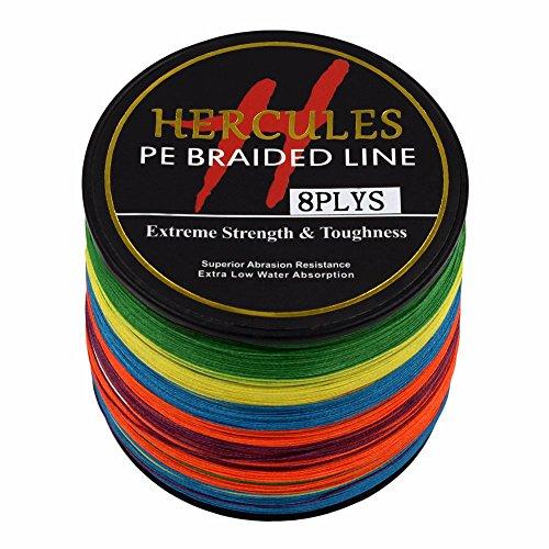 Hercules PE Superline geflochtene Angelschnur 1000?m 10lb-300lb, 8-fach, Herren, mehrfarbig, 20lb/9.1kg 0.20mm