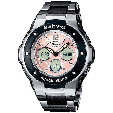 Casio MSG-300C-1BER - Reloj analógico - digital de mujer de cuarzo con correa de acero inoxidable multicolor (cronómetro, alarma, luz) - sumergible a 100 metros