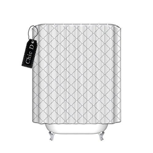 ster Vorhang für die Dusche, Polyester-Wasserdicht-Badezimmer Decor (weiß grau), Polyester, multi, 48 x 72 ()