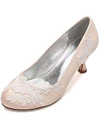 L@YC Zapatos de Boda de Las Mujeres Flor de La Oficina Corsage Satin Close Toes Party Court Size (a Medida)